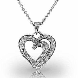 Jewelry - 3.50 Ct Round cut diamonds heart shaped pendant ne